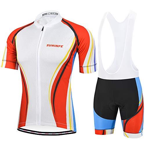 SUHINFE Ropa Ciclismo y Pantalones Equipación de Ciclista con 5D Gel Pad para Verano Deportes al Aire Libre Ciclo Bicicleta (Blanco, 2XL)