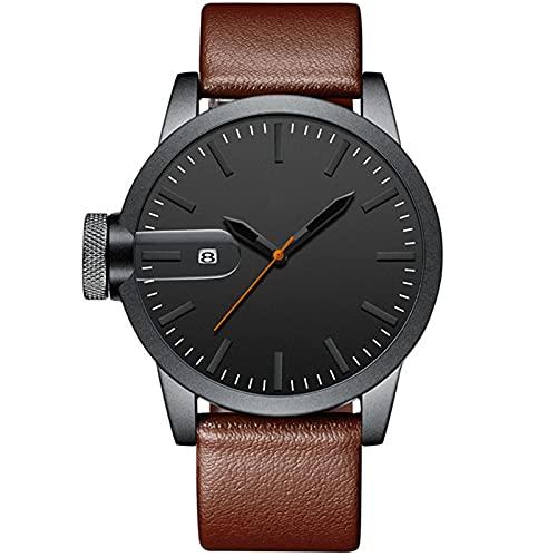 ML S HJDY Reloj De Cuarzo para Hombre Calendario Impermeable Reloj Analógico De Moda Simple Relojes Deportivos Y De Ocio para Hombre,Marrón