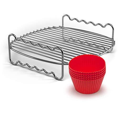 Philips HD9904/01 Party-Kit für Airfryer (Grillrost und Muffinförmchen), Chromstahl, Edelstahl/Rot