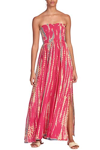 Elan Women's Strapless Crochet Top Beach Cover-Up Maxi, Cabo Berry, Size Large