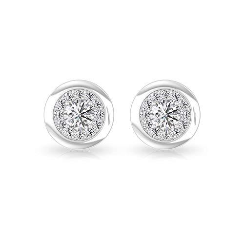 Aretes con halo de diamante certificado IGI de 0,34 quilates, oro sólido de 14 quilates grabado boda nupcial, 18K Oro blanco, Par
