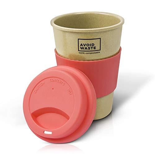 Avoidwaste Kaffeebecher to go aus Reishülsen. Der nachhaltige Mehrweg-Becher ist pflanzlich, biologisch abbaubar, BPA frei, spülmaschinengeeignet und umweltfreundlich (rosa)