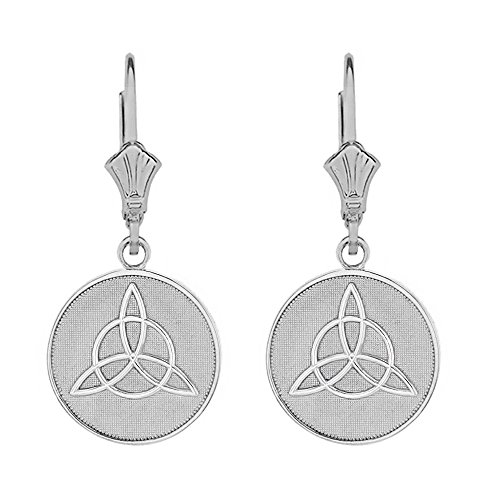 Sterling Silver Irish Infinity Circle Celtic Trinity Knot Disc Leverback Earrings