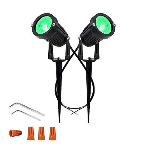 Youngine 12V LED Luz del césped Paredes al aire libre impermeables Árboles Banderas Proyector 5W COB Jardín Patio Ruta Iluminación para el jardín con soporte de punta, paquete de 2 (Verde)