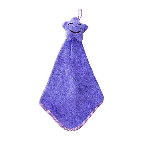 Gloa Towels Kitchen Bathroom Star Hand Towel Soft Kids Child Wipe Hanging Cute Cartoon Towel - Purple