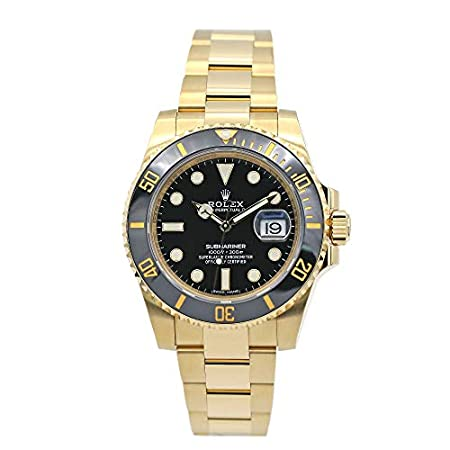 Fashion Shopping Rolex Submariner Yellow Gold Watch Black Dial Watch 116618