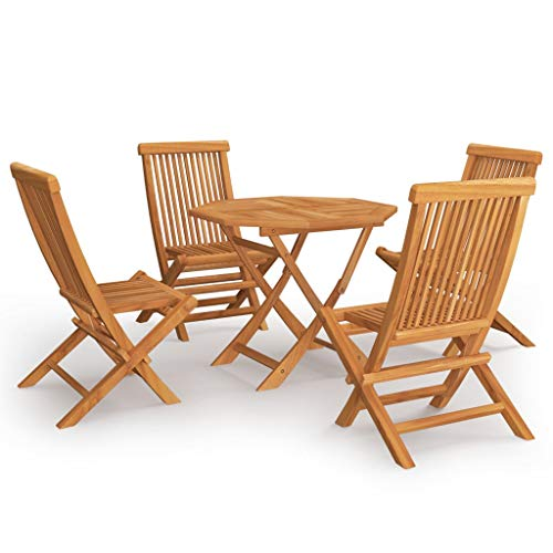 vidaXL Solid Teak Wood Garden Dining Set 5 Piece Patio Outdoor Furniture Set Wooden Slatted Folding Dining Table and Chairs Side Seat