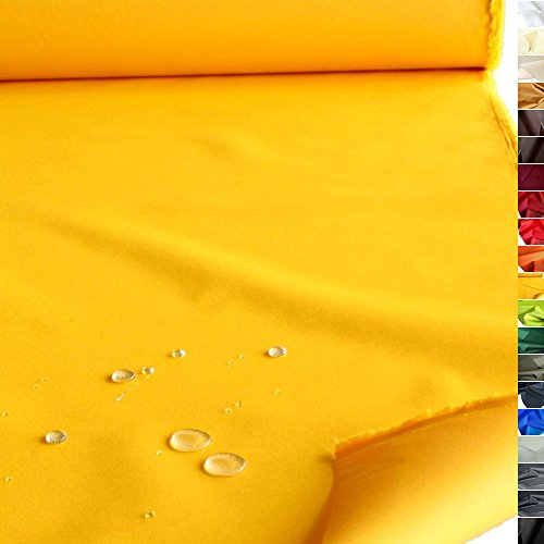 TOLKO wasserfester beschichteter Nylon Stoff | fester Segeltuch Planenstoff als Nylonplane für Aussenbereich | Reißfest und Langlebig | Meterware 150cm breit schwerer Outdoorstoff (Gelb)