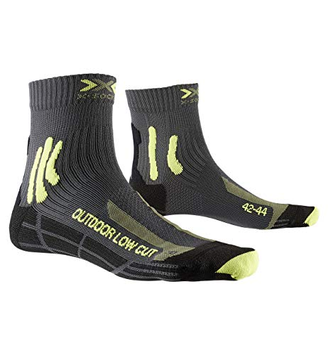 X-Socks Trek Outdoor Low Cut Men Socks, Calze Calza Calzini Uomo, Anthracite/Lime, 42/44
