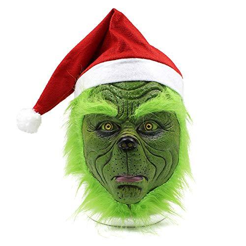 Miminuo Máscara Sombrero de Santa, Disfraces de Navidad, máscara de Cabeza Llena de látex Aterrador
