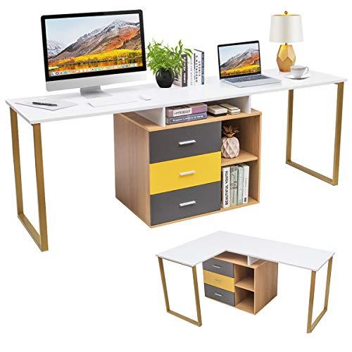 COSTWAY 2 Personen Computertisch mit 3 Schubladen und 2 offenen Fächern, L-förmiger Eckschreibtisch, Schreibtisch umstellbar, Arbeitstisch Holz, Winkelkombination Tisch für Homeoffice