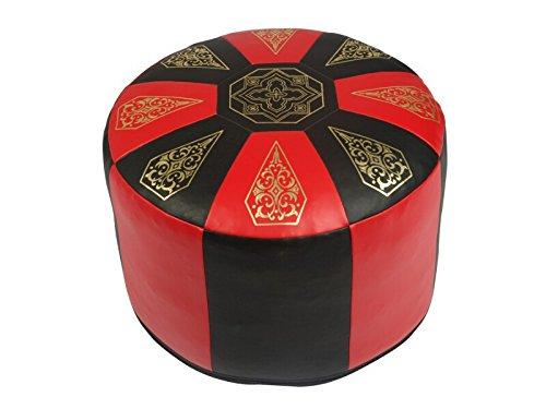 KCH Sitzkissen Pouf Orientkissen rund Kunstleder rot/schwarz, Breite 50 cm, Höhe 34 cm