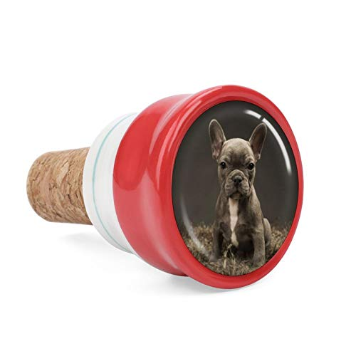French Bull Dog Wine Cork Wine Bottle Stoppers Ceramic Plug for Wine Lover Gifts, Bar, Kitchen, Holiday Party, Wedding - Keep Wine Fresh