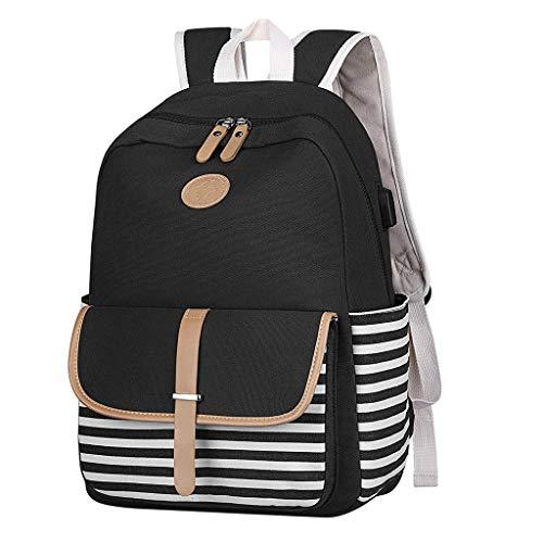 Zaino scuola ragazze ragazzi a strisce zaino in tela con scomparto per laptop e porta USB di ricarica casual Outdoor Leedy, Nero (Nero), Taglia unica