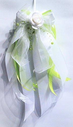 Kirchenschmuck Kirchbankschleife Stuhlschleife Hochzeit KS0016 weiss hellgrün