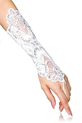 Hippolo Stulpen Handschuhe Brauthandschuhe Spitze Fasching Karneval (Weiß)