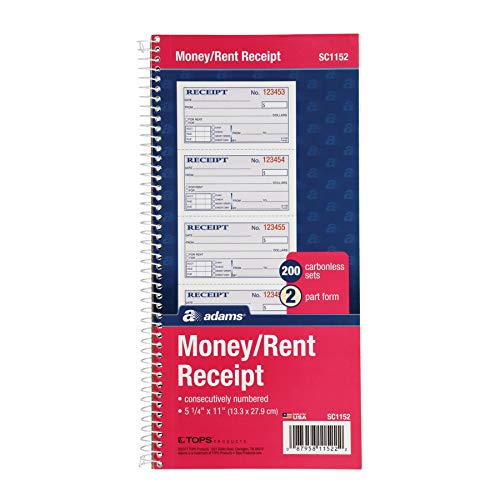 Adams Money and Rent Receipt Book  2-Part Carbonless  5-1/4  x 11   Spiral Bound  200 Sets per Book  4 Receipts per Page (SC1152)