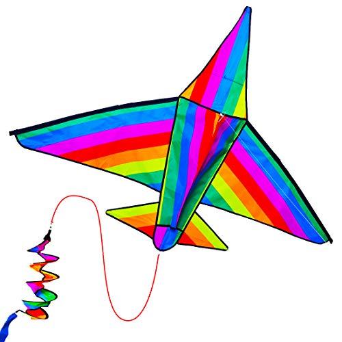 ZHONGRAN Flugzeug-3D-Drachen für Kinder, einfach zu fliegen, Stranddrachen für Jungen und Mädchen, lustiges Outdoor-Spielzeug für Kinder und Familienspiele