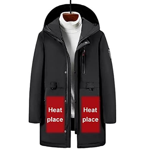FR&RF Chaquetas climatizadas Down Cotton Warm Invierno Hombres Mujeres Cothing USB Calefacción eléctrica Chaqueta con Capucha Abrigo térmico,Gris,XL