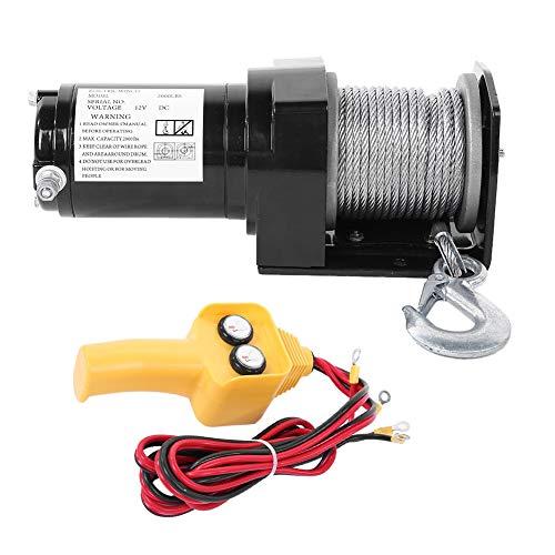 Cabrestante Eléctrico Cable de Polipasto 12V 907kg, con Gancho Cabestrante Mando de...