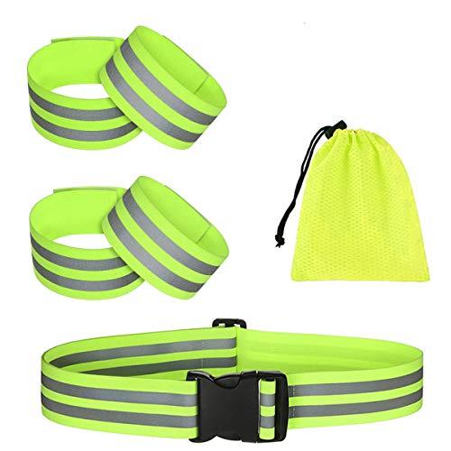 QIMMU 4 Stück Reflektierende Armband und 1 Stück Reflektierende Gürtel,Reflektor Gürtel Sicherheit,Reflektorband Reflektierendes Armband für Radfahren,Laufen,Joggen im Dunkeln