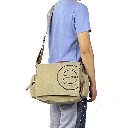 Borsa uomo-borsa a Spalla per la Scuola Militare Tela Bag Tracolla Messenger (Cachi)
