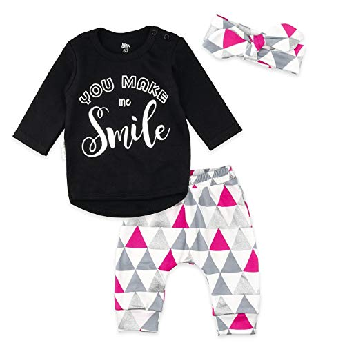 Baby Sweets 3er Set Mädchen-Baby-Bekleidung mit Hose, Oberteil & Baby-Haarband in Pink, Schwarz, Grau im Motiv You Make me Smile / 3-TLG. Baby-Set Neugeborene & Kleinkinder/Größe 6-9 Monate (74)
