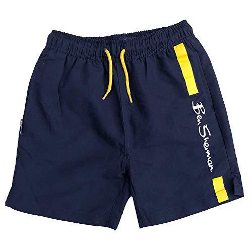 Ben Sherman Schwimm Shorts Blazer Marineblau/Gelb Logo Shorts Alter 3Y bis Zu 1 - Blazer Marineblau, 8-9 Jahre 128-134cm