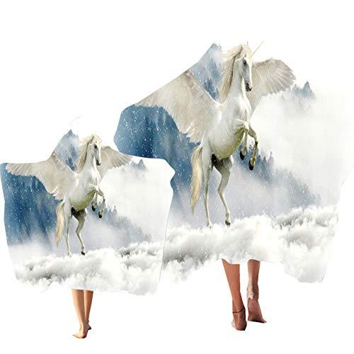 Toalla de Playa con Capucha Animal Arcoíris Caballo Cielo Estrellado Impresión Poncho Niño Adulto Toalla Bata de Baño Playa Piscina Bañarse Turismo (Color 5, Niño & Adulto 2PCS)