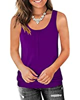 Traleubie Round Neck Workout Tank Tops for Women Casual Sleeveless Shirts Loose Fit Purple S