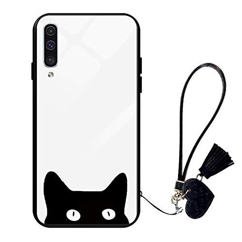 Oihxse Moda Case Compatible para Samsung Galaxy A51/M40S Funda Vidrio Templado con Cuerda Cordón TPU Silicona Suave Bumper Cover Anti-Choques Anti-Rasguños Cáscara de Cristal Estuche,A4
