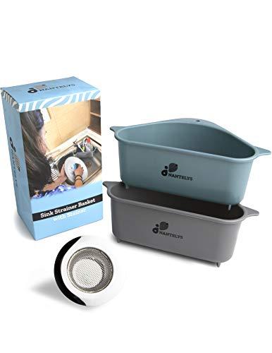 2 Sink Strainer Basket for Kitchen with Sink Strainer Set, Soap and Sponge Holder, Triangular Sink Filter, Vegetable and Fruit Basket, Corner Sink Strainer Basket with Suction Cup by Nantelys