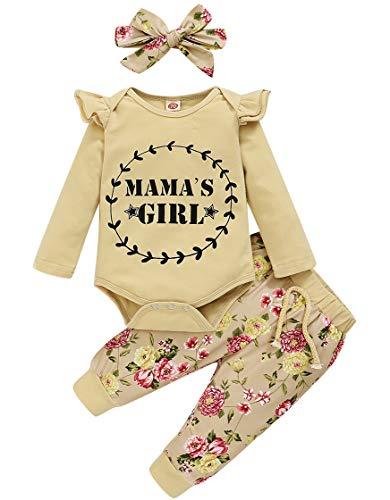 Amissz Kleinkind Baby Mädchen Bekleidungsset Rüschen Schulter Top + Floral Pants Kleidung Sets mit Stirnband