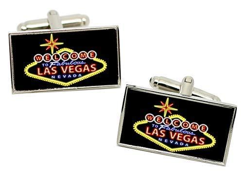 Giftshop UK las Vegas Alta Rollers Rectángulo Gemelos en Cromo Caja
