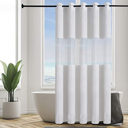 Furlinic Überlänge Duschvorhang Badvorhang aus PEVA Wasserdicht Anti-schimmel Waschbar Duschvorhänge Weiß mit 3D Fenster für Dusche und Badewanne XL 180x240cm mit Magnet Shower Curtains Hookless.