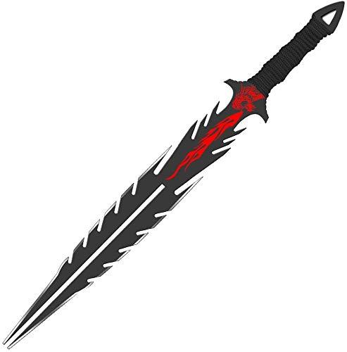 Sword Vally Drachenzungenkrieger Kurzschwert,Dolch-Katana-Messer,26 Zoll Fantasy Schwert, Sharp Jagdmesser, 3Cr13 High-End-Edelstahl, Taktisches Messerset mit Scheide