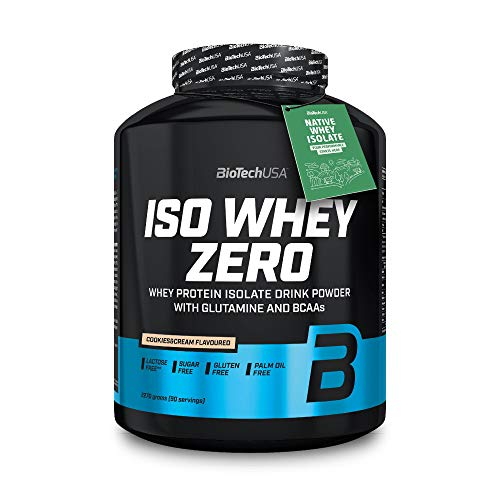 BioTechUSA Iso Whey Zero Premium Protein Isolat Pulver, Proteinpulver aus Native Whey Isolate mit L-Glutamin und BCAA angereichert, palmöl- und aspartamfrei, 2270g, Cookies & Cream