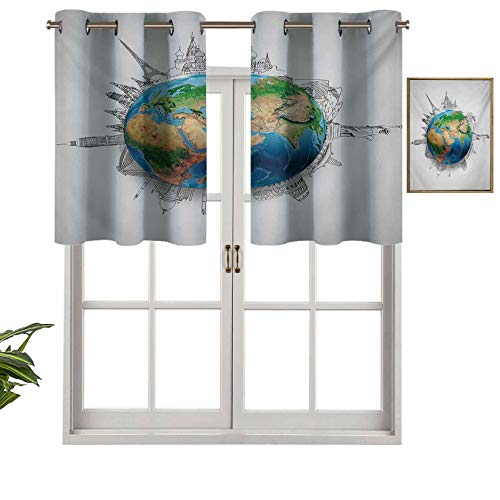 Hiiiman Thermal Insulated Draperies Valance Curtain Panel Globe of Planet Earth Realistic Continents Geography Theme Pencil Sketch, Set of 2, 54'x24' for Living Dining Room Decoration