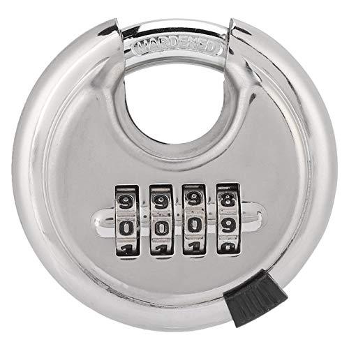 EVTSCAN - Llave de candado redonda con contraseña de acero inoxidable, 70 mm, engrosada, 9, 5 mm para cercas de almacenes al aire libre