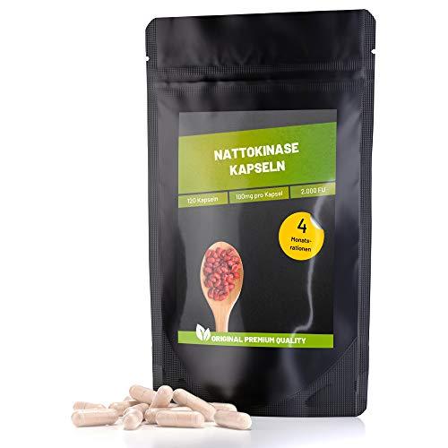 Fitness Vital 120 Kapseln Nattokinase 2000 FU | hochdosiert 100 mg pro Kapsel laborgeprüft | vegan pflanzlich sojafrei glutenfrei ohne Vitamin K