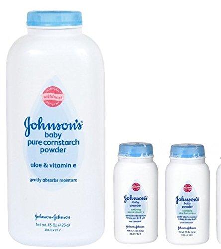 Johnson's Pure Cornstarch Baby Powder 15 Oz + Johnson's Pure Corstarch Travel Size 1.5 Oz, 2 pk