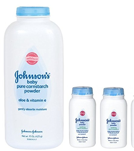 Johnson's Pure Cornstarch Baby Powder 15 Oz + Johnson's Pure Corstarch Travel Size 1.5 Oz, 2 pk