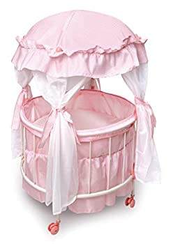 Badger Basket Royal Pavilion Round Doll Crib with Canopy and Bedding  fits American Girl Dolls