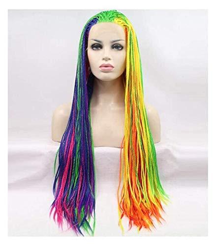 Jsmhh Pelucas delanteras de encaje trenzado Mujeres larga trenzada arco iris color mezclado color sinttico peluca africano braid brasileo pelucas roca halloween cosplay peluca anime traje fiesta pel