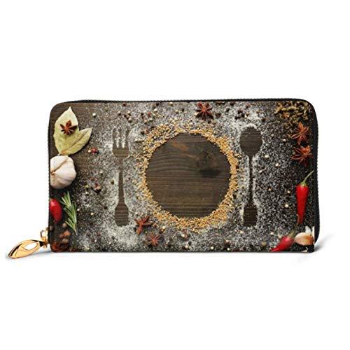 JHGFG Mode Handtasche Reißverschluss Brieftasche Gewürze auf Tisch Besteck Silhouette Schließen Telefon Clutch Geldbörse Abendkupplung Blockieren Leder Brieftasche Multi Card Organiz