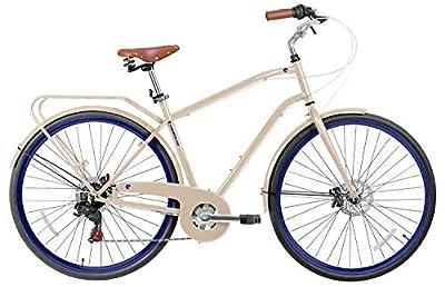 "Gama Bikes Men's Cruiser Step-Thru 7 Speed Shimano Hybrid Urban Commuter Bicycle, 21""/One Size, Beige"