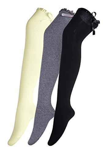 Urban GoCo Calcetines Hasta la Rodilla Algodón Medias Mujer Rayure Piernas Calientes-Conjunto de 3 pares (Bowknot A)