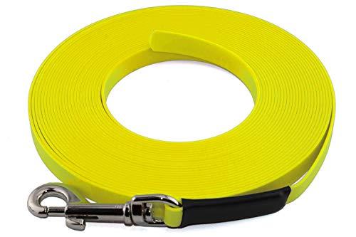 LENNIE Leichte BioThane Schleppleine, 9mm, Hunde 5-15kg, 5m lang, ohne Handschlaufe, Neon-Gelb, genäht
