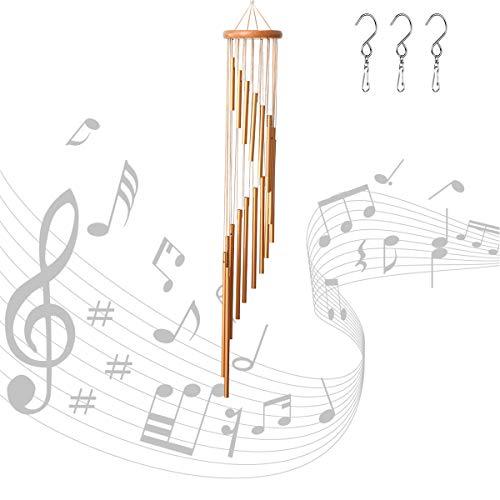 """Xiangmall Windspiele für Draußen mit 3 Haken 35"""" Aluminium Windklangspiel Geschenk für Draußen Balkon Gartenterrasse Hinterhof Home Decor (Gold)"""
