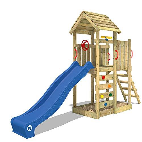 WICKEY Spielturm Klettergerüst JoyFlyer mit blauer Rutsche, Kletterturm mit Sandkasten, Leiter & Spiel-Zubehör
